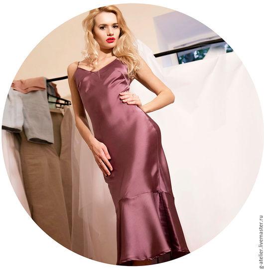 Платья ручной работы. Ярмарка Мастеров - ручная работа. Купить Фиолетовое платье-комбинация с воланом. Handmade. Фиолетовый, фиолетовое платье