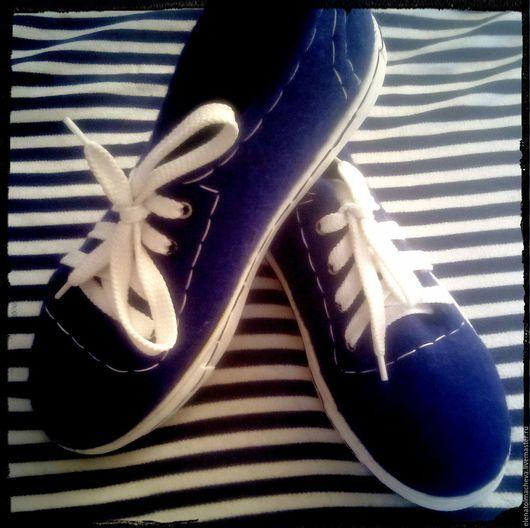 Обувь ручной работы. Ярмарка Мастеров - ручная работа. Купить Кеды валяные Морской стиль. Handmade. Тёмно-синий