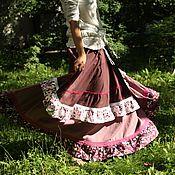 Одежда ручной работы. Ярмарка Мастеров - ручная работа Льняная юбка с необычными цветами. Handmade.