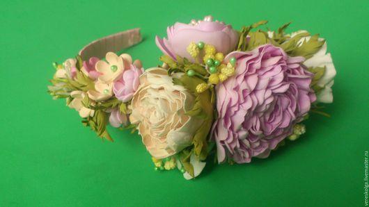 Персональные подарки ручной работы. Ярмарка Мастеров - ручная работа. Купить Ободок  с цветами из фоамирана. Handmade. Белый, салатовый, желтый