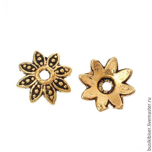Шапочки для бусин размером 10 мм. `Цветы` античное золото