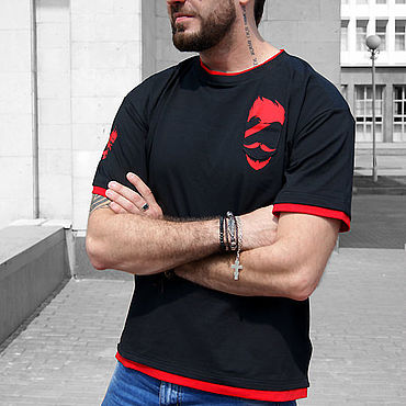 Clothing handmade. Livemaster - original item Men`s black Beard t-shirt, street style t-shirt, underground. Handmade.