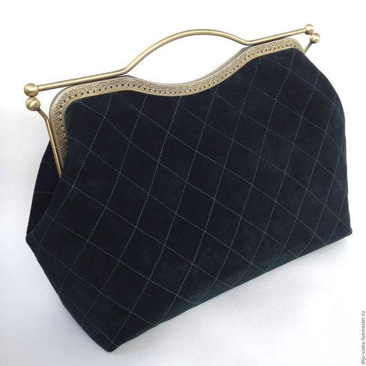 Женские сумки ручной работы. Ярмарка Мастеров - ручная работа. Купить Саквояж из замши, темно-зеленый на фермуаре, замшевая сумка. Handmade.