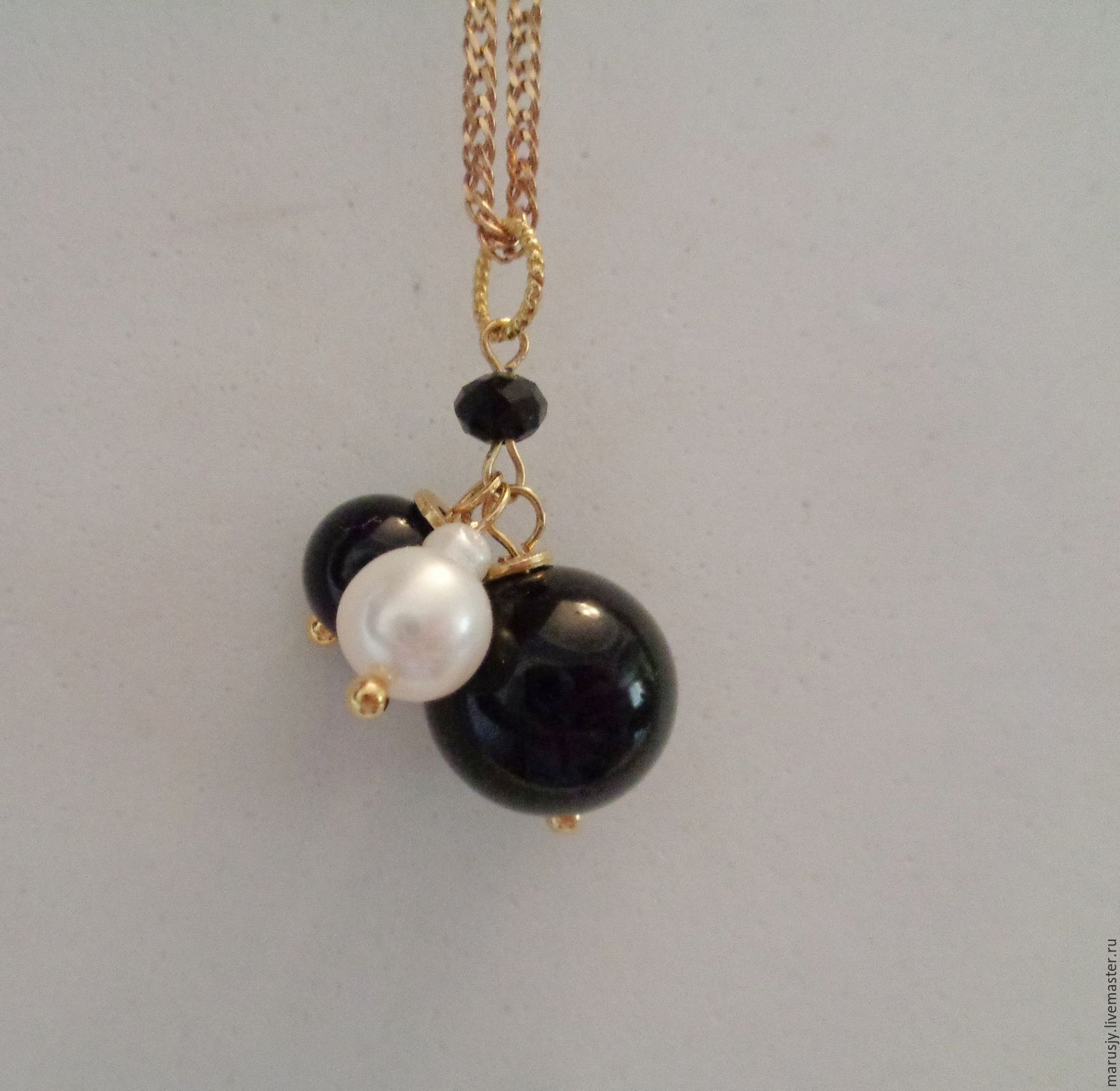 Pendant-pendant with onyx, obsidian, natural pearls and spinel, Pendants, Sergiev Posad,  Фото №1