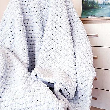 Текстиль ручной работы. Ярмарка Мастеров - ручная работа Плед покрывало из alize puffy. Handmade.
