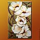 """Картины цветов ручной работы. Ярмарка Мастеров - ручная работа. Купить Объемная фреска """"Белые цветы"""". Handmade. Болотный, холст"""