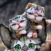 Куклы и игрушки ручной работы. Ярмарка Мастеров - ручная работа полтора котенка. Handmade.