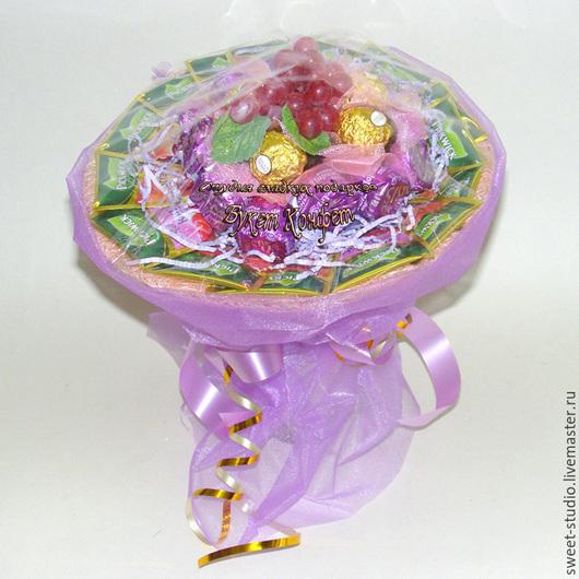 """Букеты ручной работы. Ярмарка Мастеров - ручная работа. Купить Букет из чая и конфет """"Изабелла"""". Handmade. Сиреневый"""