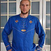 Русский стиль handmade. Livemaster - original item Men`s shirt with embroidery in the Slavic (ethno) style. Handmade.
