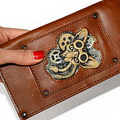 Субкультуры handmade. Livemaster - original item Steampunk purse with skull. Wallet leather. Organizer. Clutch. Handmade.