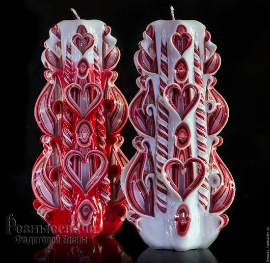 Резные свадебные свечи ручной работы.. Домашний очаг. Серия Влюбленные сердца. Свечи резные. Свечи интерьерные. Свадебные резные свечи.Свечи свадебные резные.