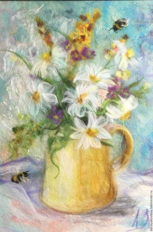 Картины цветов ручной работы. Ярмарка Мастеров - ручная работа. Купить Картина из шерсти Звуки лета. Handmade. Голубой, лето