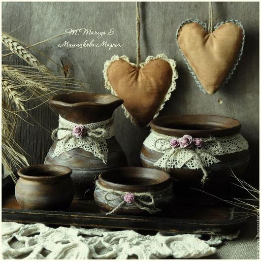 """Кухня ручной работы. Ярмарка Мастеров - ручная работа. Купить Набор крыночек на подносе """"Деревенька"""". Handmade. Короб, коричневый, на новоселье"""