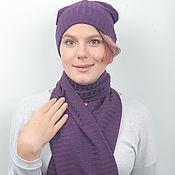 handmade. Livemaster - original item Hat and scarf set purple. Handmade.