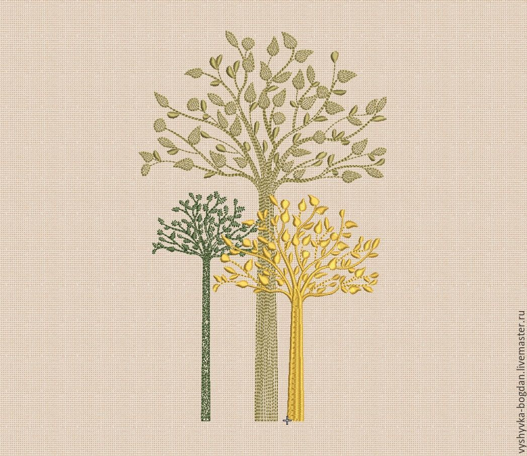 Machine embroidery designs `Autumn trees bt119` of excellent quality. Very impressive and looks beautiful on the product. Formats pes, hus, jef, dst, exp, vp3, vip, xxx