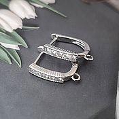 Материалы для творчества handmade. Livemaster - original item Earrings with cubic Zirconia 16,5 mm color platinum (4505). Handmade.