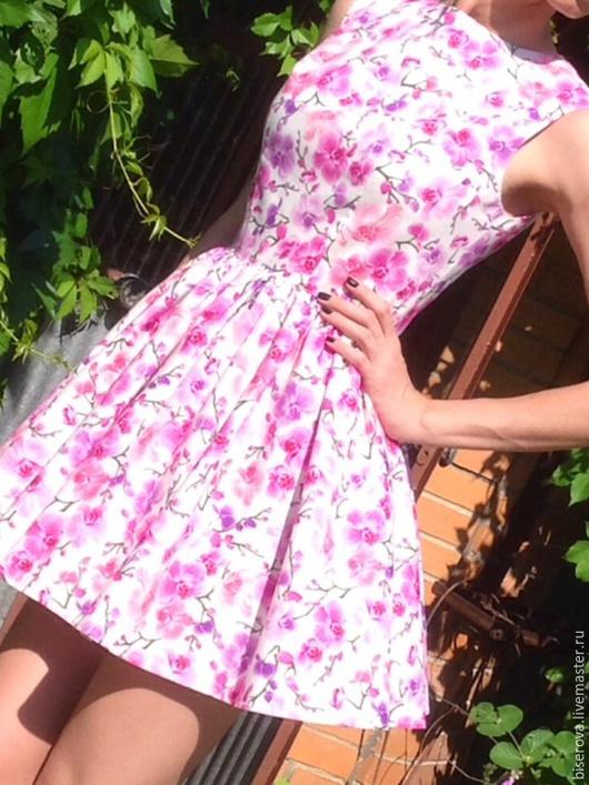 Платья ручной работы. Ярмарка Мастеров - ручная работа. Купить Платье летнее из хлопка Орхидеи на белом. Handmade. Разноцветный, орхидея