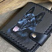 Кошельки ручной работы. Ярмарка Мастеров - ручная работа Кожаный кошелек «Овчарки», собака, пес. Handmade.