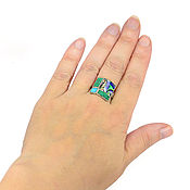 Украшения handmade. Livemaster - original item RING 4 window. Malachite, Turquoise, Mother Of Pearl. Ring size 19.2. Handmade.