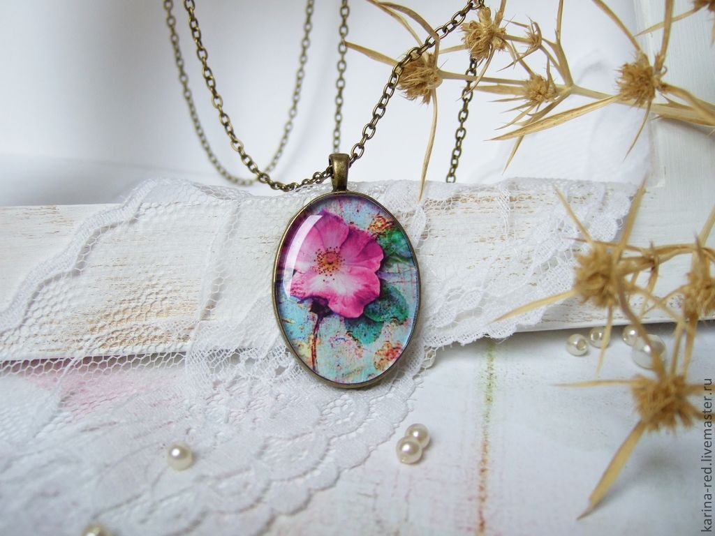 Vintage Oval Pendant with chain Pink Flower Magnolia, Pendants, Taganrog,  Фото №1