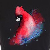 Одежда handmade. Livemaster - original item T-shirt  hand painted  red bird. Handmade.
