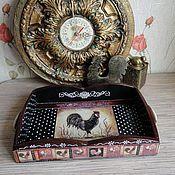 Для дома и интерьера handmade. Livemaster - original item Tray Cockerel-the Golden scallop, decoupage, wood. Handmade.