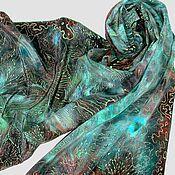 Аксессуары ручной работы. Ярмарка Мастеров - ручная работа Бирюзовое Перо Шелковый шарф с ручной росписью на заказ. Handmade.