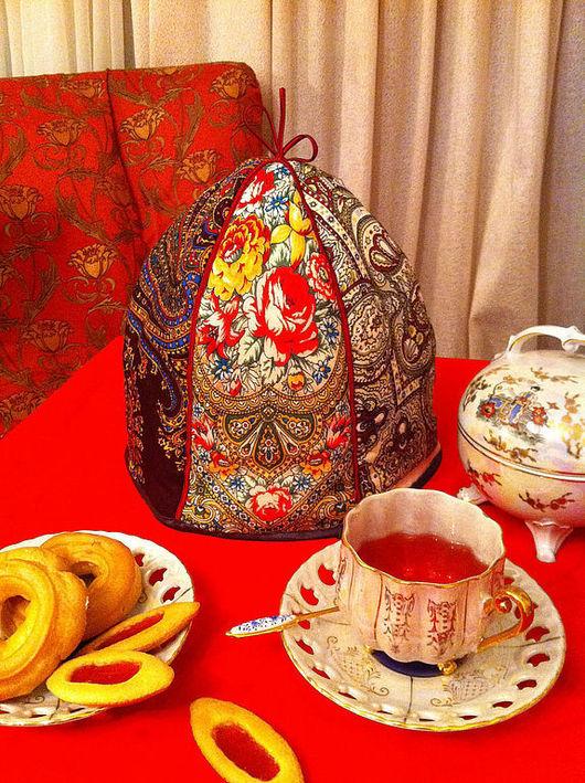 """Кухня ручной работы. Ярмарка Мастеров - ручная работа. Купить Грелка на чайник """" Чаепитие"""". Handmade. Бордовый, Баба на чайник"""