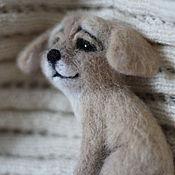 Украшения handmade. Livemaster - original item felt brooch cute dog Ball:). Handmade.