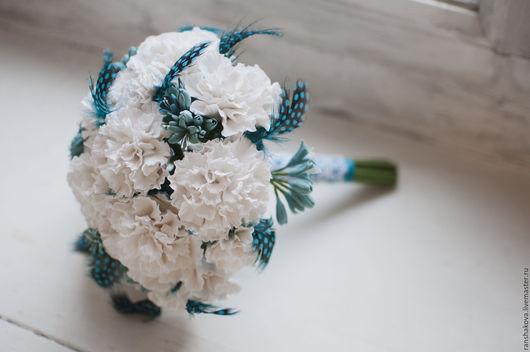 Свадебные цветы ручной работы. Ярмарка Мастеров - ручная работа. Купить Букет невесты в бело- бирюзовом цвете. Handmade. невесте