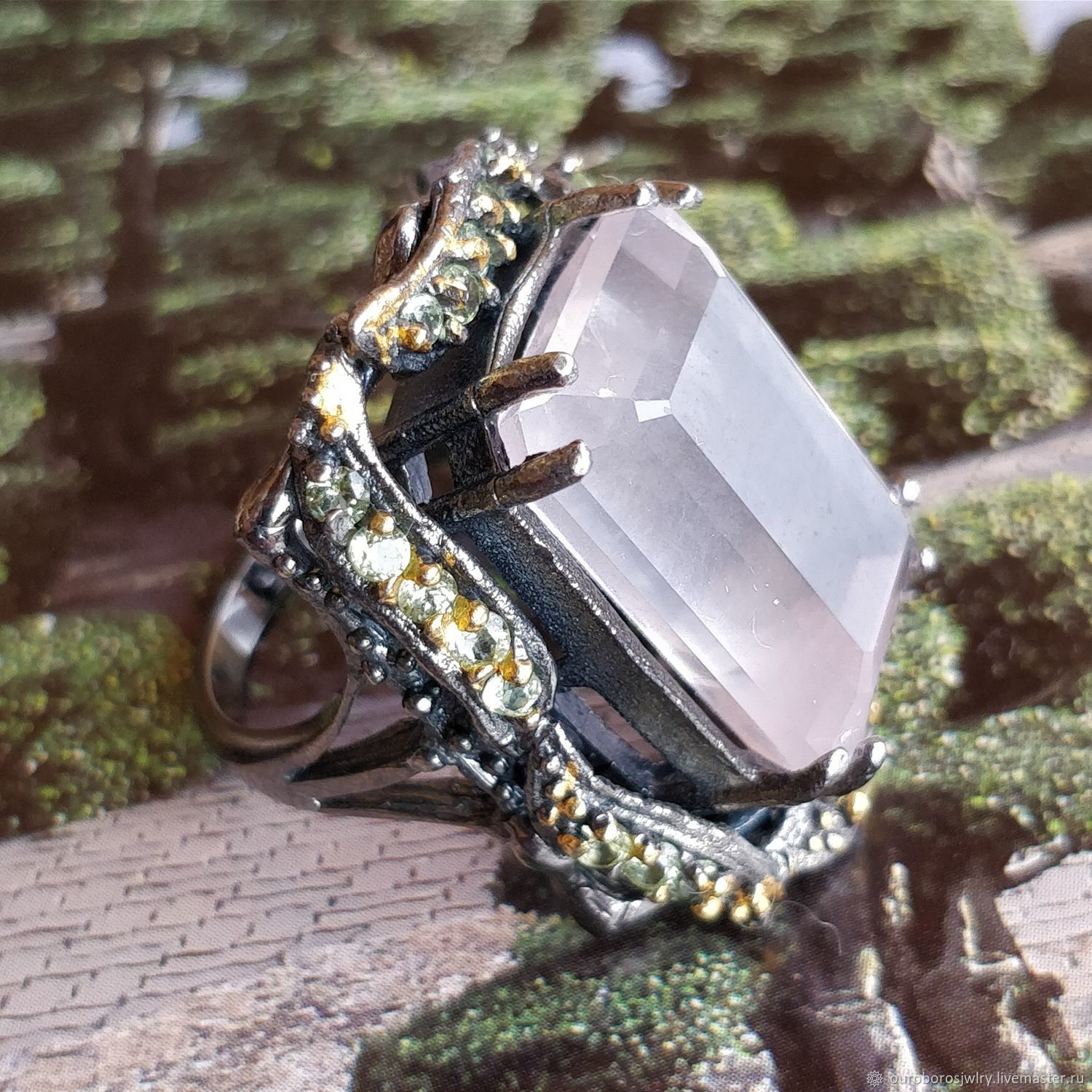Silver ring with rose quartz and chrysolite, Rings, Novosibirsk,  Фото №1
