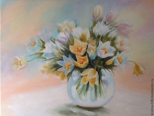 Картины цветов ручной работы. Ярмарка Мастеров - ручная работа. Купить За полчаса до весны. Handmade. Комбинированный, пастельные цвета