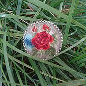 Украшения ручной работы. Ярмарка Мастеров - ручная работа Брошь вышитая Роза красная цвела.... Handmade.