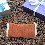 Аксессуары handmade. Livemaster - original item Clutch hand Bag in suede and sheepskin Terracotta. Handmade.