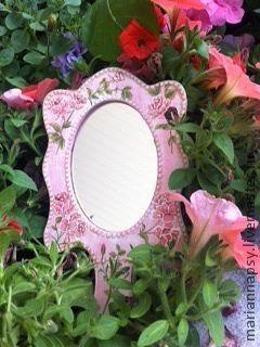 Зеркала ручной работы. Ярмарка Мастеров - ручная работа. Купить Зеркало для принцессы. Handmade. Розовый, Декупаж, для девочки, дерево