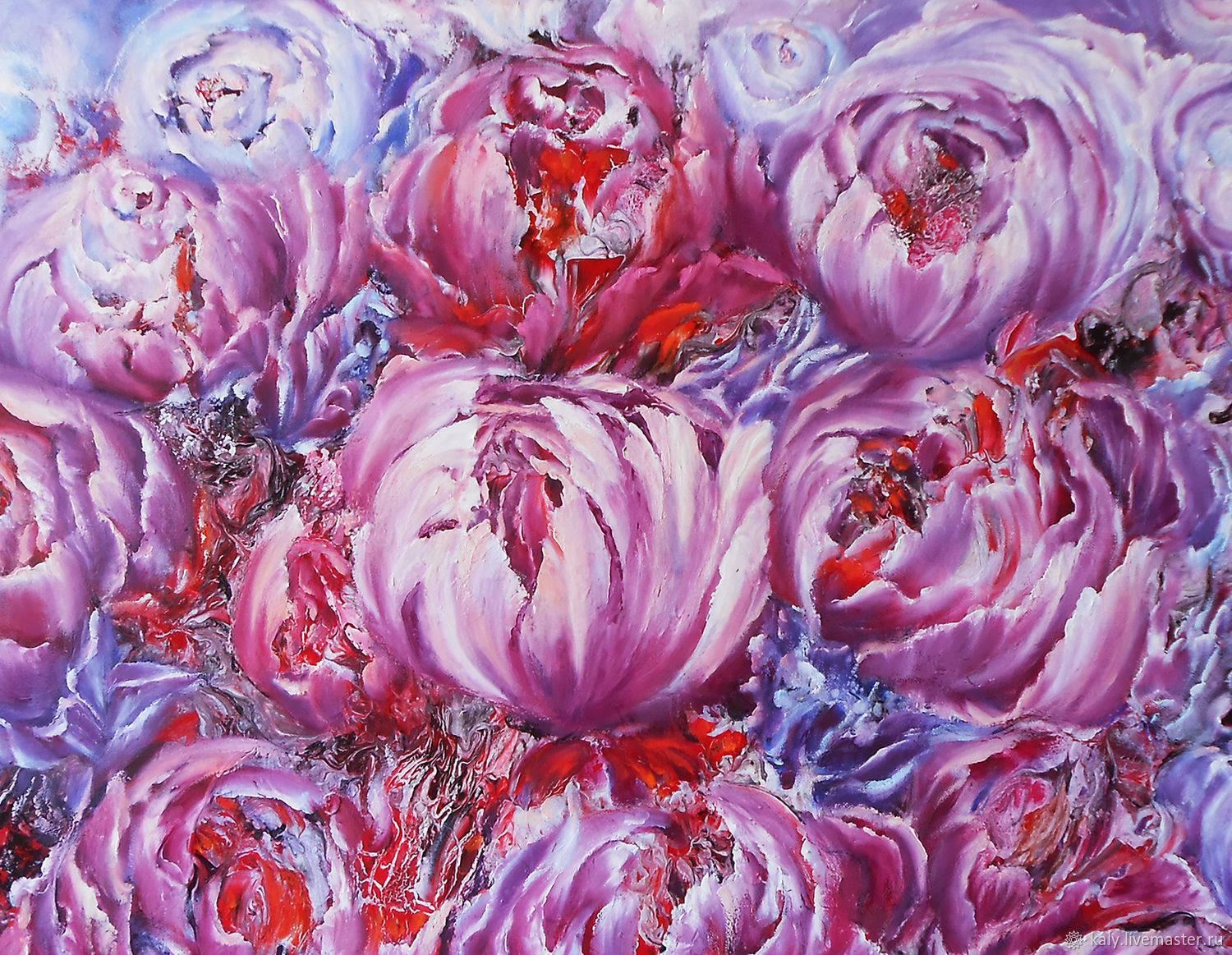 Abstract floral painting Purple and Pink flowers peonies oil on canvas, Pictures, St. Petersburg,  Фото №1