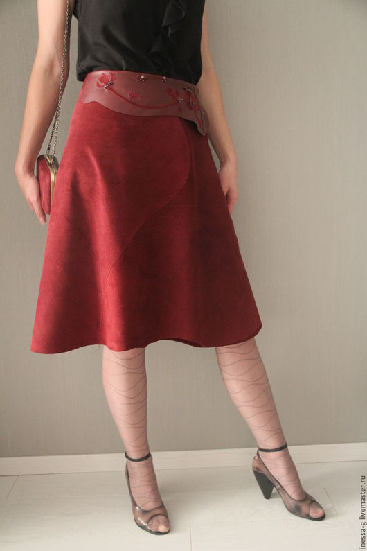Юбки ручной работы. Ярмарка Мастеров - ручная работа. Купить Юбка из замши цвета марсалы. Handmade. Бордовый, длинная юбка
