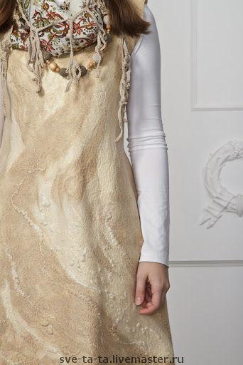 """Платья ручной работы. Ярмарка Мастеров - ручная работа. Купить Платье """"Молоко и мёд"""" (войлок+шелк). Handmade. Войлочное платье"""