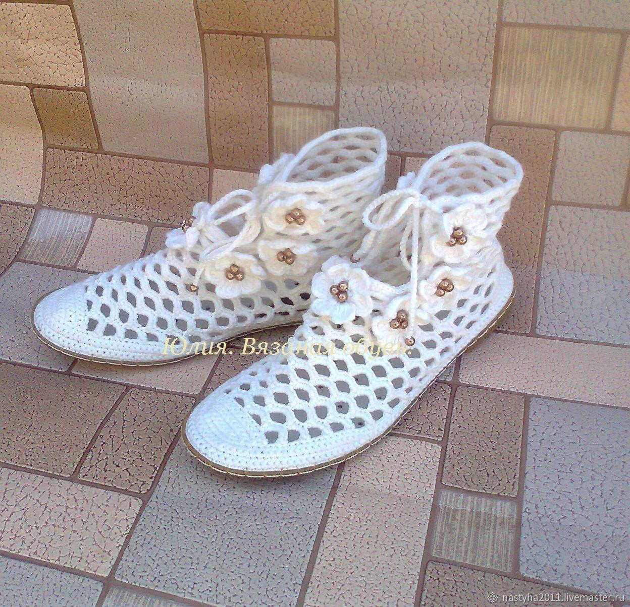 Обувь ручной работы. Ярмарка Мастеров - ручная работа. Купить Ботинки: Ажурные. Handmade. Вязание крючком, обувь на заказ