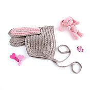 Работы для детей, ручной работы. Ярмарка Мастеров - ручная работа вязаная шапочка зайка с длинными ушами для девочки серый. Handmade.