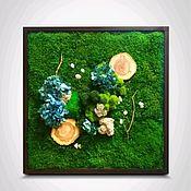 Фитокартины ручной работы. Ярмарка Мастеров - ручная работа Фитокартина Гортензия vs дерево. Handmade.