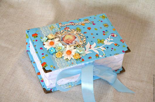 """Подарки для новорожденных, ручной работы. Ярмарка Мастеров - ручная работа. Купить Шкатулочка """"Мамины сокровища"""" для мальчика. Handmade. Голубой, новорожденному"""