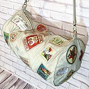 Дорожная сумка из эко-замши с винтажными принтами, сумка с нашивками