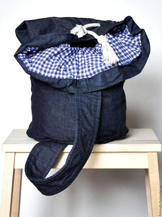 Рюкзаки ручной работы. Ярмарка Мастеров - ручная работа. Купить Рюкзак-мешок DENIM. Handmade. Тёмно-синий, мужской рюкзак