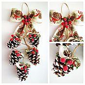 Сувениры и подарки handmade. Livemaster - original item Hanging Christmas decoration from cones on the door, on the window, on the Christmas tree. Handmade.