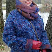 """Одежда ручной работы. Ярмарка Мастеров - ручная работа Валяная куртка """"Синий каракуль"""" + шарф палантин. Handmade."""