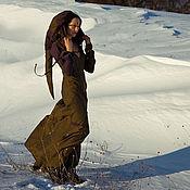 Платья ручной работы. Ярмарка Мастеров - ручная работа Платье Эльфа Эльфийское платье льняное в пол хаки из льна с капюшоном. Handmade.