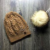 Аксессуары ручной работы. Ярмарка Мастеров - ручная работа Шапка вязанная с косами. Handmade.