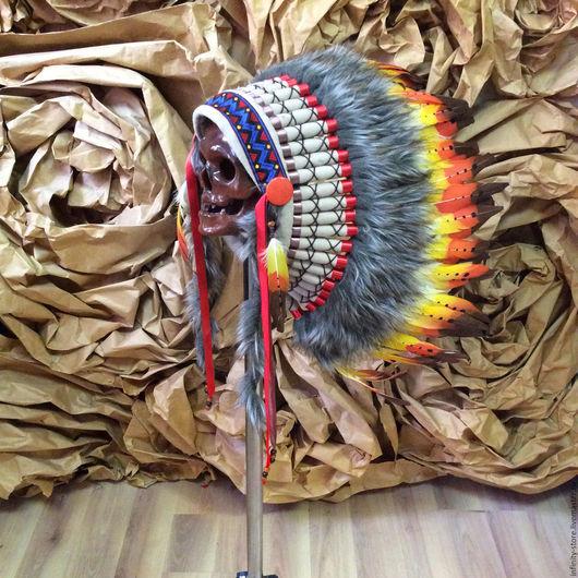 Этническая одежда ручной работы. Ярмарка Мастеров - ручная работа. Купить Индейский головной убор - Огненная Птица. Handmade. Комбинированный