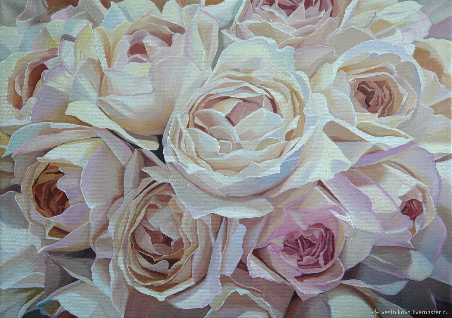 Painting with roses, oil on canvas 50h70, Pictures, Moscow,  Фото №1